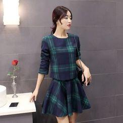 Sienne - Set: Plaid Long-Sleeve Top + Plaid A-Line Skirt
