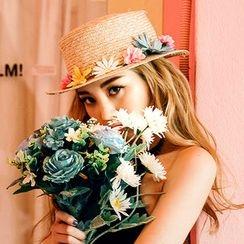 chuu - Flower-Embellished Raffia Hat