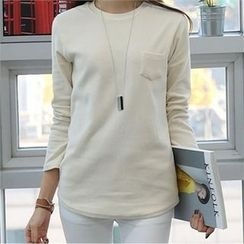 CHICFOX - Round-Neck Pocket-Front T-Shirt