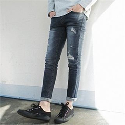 MITOSHOP - Distressed Slim-Fit Jeans