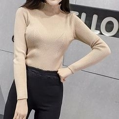 Honeydew - Plain Mock Neck Long Sleeve Rib Knit Top