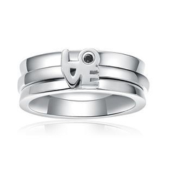 MBLife.com - 925 Sterling Silver 'LOVE' Diamond Ring Band with Balck Diamond (Men / Female Style)