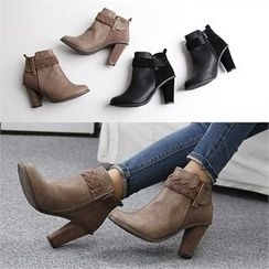 Reneve - Woven-Banded Chunky-Heel Ankle Boots