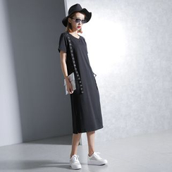 Sonne - Metal-Accent Short-Sleeved Dress