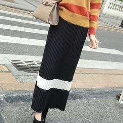 Honeydew - Striped Midi Knit Skirt