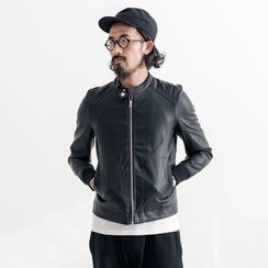 YIDESIMPLE - Genuine-Leather Biker Jacket