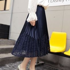 Romantica - Lace-Panel Pleated Skirt