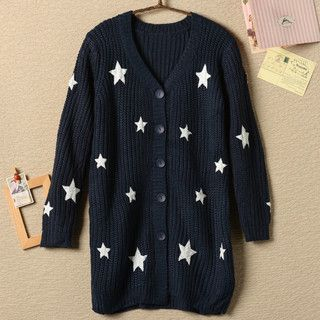 YesStyle Z - Star Print Long Cardigan