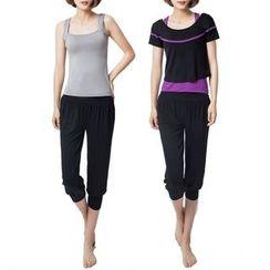 YANBOO - Set: Tank Top + Short/ Elbow Sleeve T-Shirt + Cropped Pants