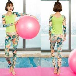 YANBOO - 套裝: 印花長款插肩袖T恤 + 印花瑜伽褲