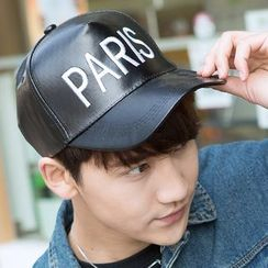 LS.SPRING - Embroidered Faux Leather Baseball Cap