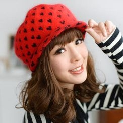59 Seconds - Heart Print Furry Knit Casquette