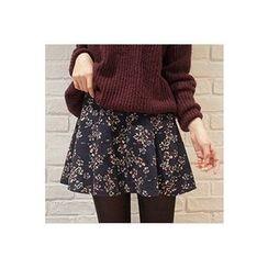 CHERRYKOKO - Floral Pattern Mini Flare Skirt