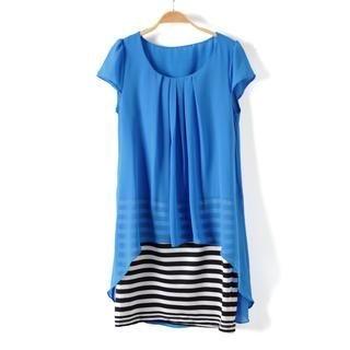 9mg - Mock Two-Piece Striped Dress