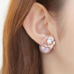 soo n soo - Double Stud Flower Earrings