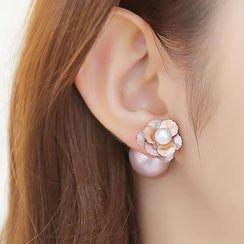 soo n soo - 仿珍珠花形耳環