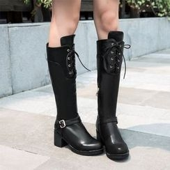 JY Shoes - Block Heel Tall Boots