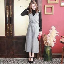 Tokyo Fashion - V-Neck Smocked-Waist Jumpsuit