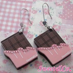 Sweet & Co. - Sweet Pink Swarovski Crystal Choco Bar Dangle Earrings
