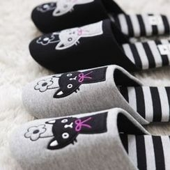 iswas - Cat Embroidered Striped Slippers
