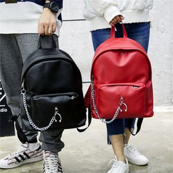 Seok - Chain Detailed Faux Leather Backpack