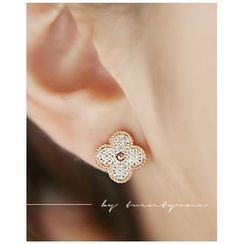 Miss21 Korea - Rhinestone Flower Stud Earrings