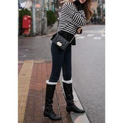 Chlo.D.Manon - Kitten-Heel Faux-Fur Lined Tall Boots