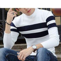 Recluso - Striped Mock Neck Long Sleeve T-Shirt