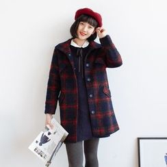 Forest Girl - Plaid Snap-Button Coat