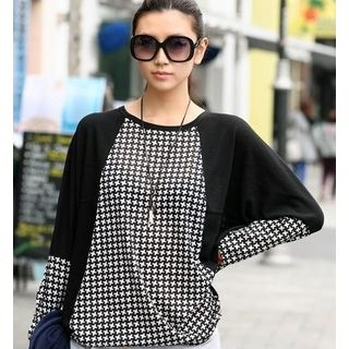 59 Seconds - Houndstooth Panel Batwing Sleeve Top