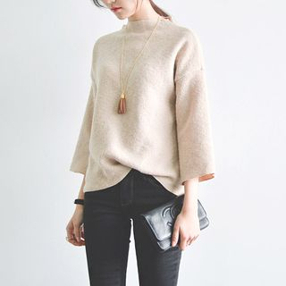 JUSTONE - Mock-Neck Boxy Sweater