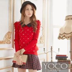 Tokyo Fashion - Ruched-Sleeve Dotted Knit Top