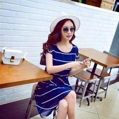 粉紅大布娃娃 - 短袖條紋雪紡連衣裙