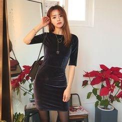 DABAGIRL - Elbow-Sleeve Velvet Bodycon Dress