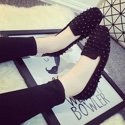 Zandy Shoes - Faux-Suede Studded Flats