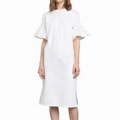 Obel - Short Ruffle-Sleeve Plain Midi Dress