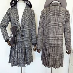 DIYI - Check Lapel Double-Breasted Pleated Long Woolen Jacket