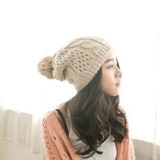 CatWorld - Pompom-Accent Cable-Knit Beanie