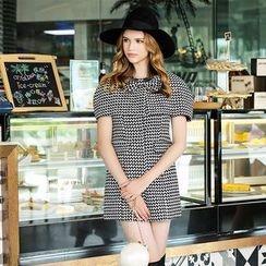 歐依潮派 - 套裝: 無袖連衣裙 + 飾蝶結披肩