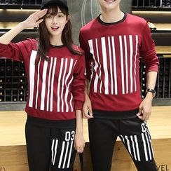 Bay Go Mall - Set: Couple Matching Striped Pullover + Sweatpants