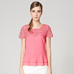 O.SA - Crochet-Shoulder Zip Peplum Top