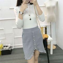 QZ Lady - Buttoned Mini Knit Skirt