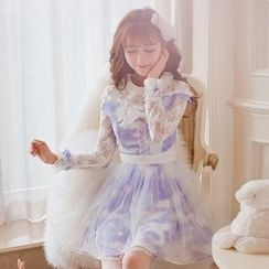 Candy Rain - Printed Lace Panel Long Sleeve Dress