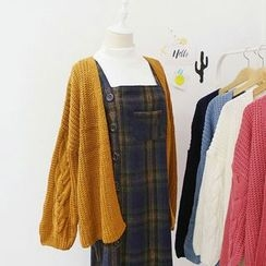 CaraMelody - Plain Cable Knit Cardigan