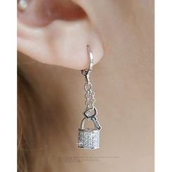 Miss21 Korea - Padlock & Key Dangle Earrings