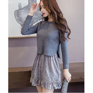 MAVIS - Lace V-Neck Long-Sleeve Dress