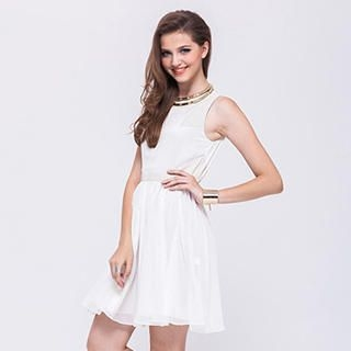 I-DOU - Faux-Leather Panel Sleeveless Dress
