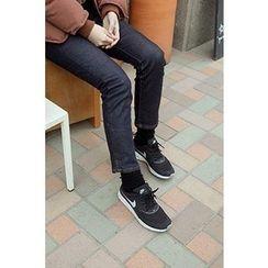 CHERRYKOKO - Coated Straight-Cut Jeans
