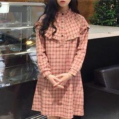 Dute - Frill Trim Plaid Long Sleeve Dress
