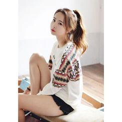 DEEPNY - Long-Sleeve Pattern Printing T-Shirt
